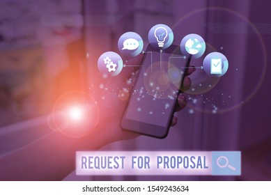 Word writing text Request For Proposal. Business concept for document contains bidding process by agency or company.
