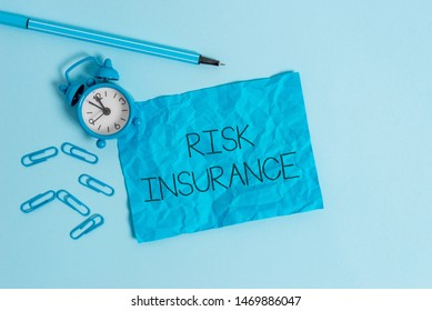 Word writing text Risk Insurance. Business concept for The possibility of Loss Damage against the liability coverage Metal alarm clock blank crushed sheet marker clips sky colored background.