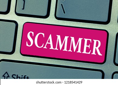 Word writing text Scammer. Business concept for Someone who makes money by tricking showing Crime Fraud Thief