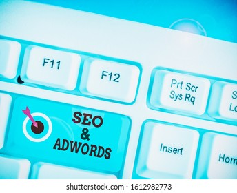 Word writing text Seo And Adwords. Business concept for Pay per click Digital marketing Google Adsense.