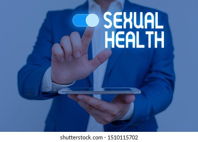 Word writing text Sexual Health. Business concept for Healthier body Satisfying Sexual life Positive relationships Male human wear formal work suit presenting presentation using smart device.