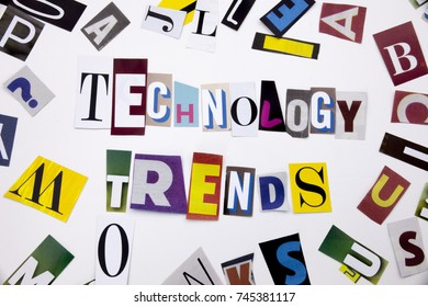 A word writing text showing concept of TECHNOLOGY TRENDS made of different magazine newspaper letter for Business case on the white background with space