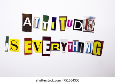 A word writing text showing concept of Attitude Is Everything made of different magazine newspaper letter for Business case on the white background with space