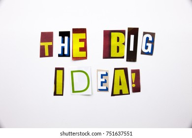 A word writing text showing concept of The Big Idea question made of different magazine newspaper letter for Business case on the white background with space
