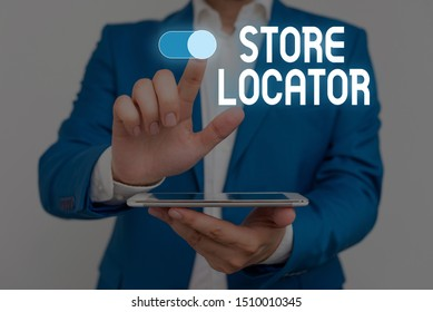 Word writing text Store Locator. Business concept for to know the address contact number and operating hours Male human wear formal work suit presenting presentation using smart device.