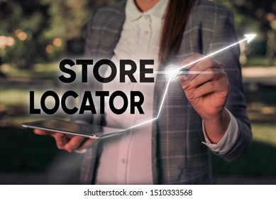 Word writing text Store Locator. Business concept for to know the address contact number and operating hours.