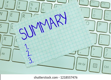 Word writing text Summary. Business concept for Brief Statement Abstract Synopsis Concise Abbreviated version