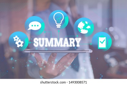 Word writing text Summary. Business concept for a brief statement or account of the main points of something Female human wear formal work suit presenting presentation use smart device.