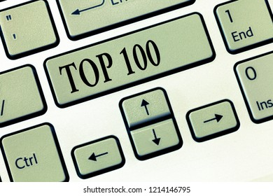 Word writing text Top 100. Business concept for List of best products services Popular Bestseller Premium high rate
