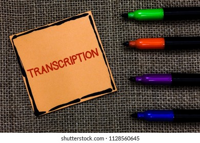 Word writing text Transcription. Business concept for Written or printed process of transcribing words text voice Marker pens art board small pitch paper lovely love ideas mat black shadow.