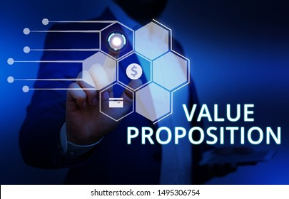 Word writing text Value Proposition. Business concept for feature intended to make a company or product attractive Male human wear formal work suit presenting presentation using smart device.