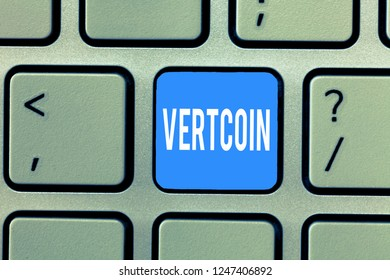 Word writing text Vertcoin. Business concept for Cryptocurrency Blockchain Digital currency Tradeable token