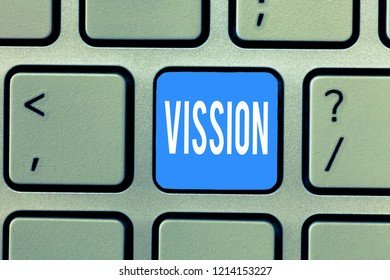 Word writing text Vission. Business concept for Being able to see Objective Inspiration Planning for future