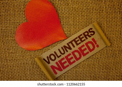Word writing text Volunteers Needed Motivational Call. Business concept for Social Community Charity Volunteerism Lavender pink page with red border and content pink paper heart lovely trice.