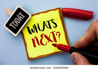 Word writing text What s Next Question. Business concept for Asking Imagination Choice Solution Next Questionaire written by Man Holding Marker on Sticky Note Paper on the plain background Today