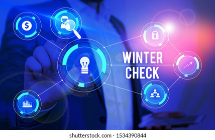 Word writing text Winter Check. Business concept for Coldest Season Maintenance Preparedness Snow Shovel Hiemal Male human wear formal work suit presenting presentation using smart device.