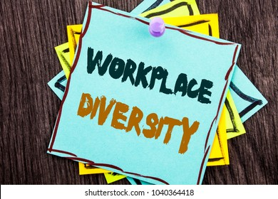Word, writing, text  Workplace Diversity. Business concept for Corporate Culture Global Concept For Disability written Blue Sticky Note Paper the wooden background.