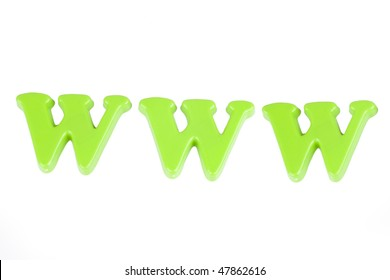 "the word ""www"" made of colorful letters"