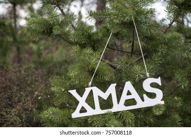 Word Xmas and fir trees