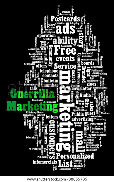 Wordcloud illustration of Guerrilla Marketing on black background