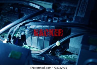 Wording hacker  on computer board circuit background