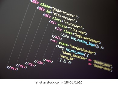 Wordpress theme code close up. Laptop screen with PHP code