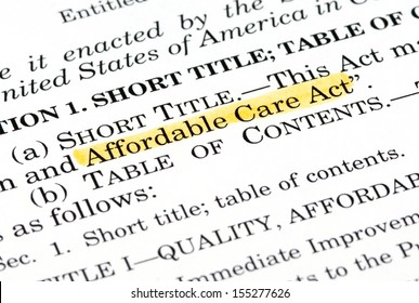 "Words ""Affordable Care Act"" highlighted within the Affordable Care Act document"