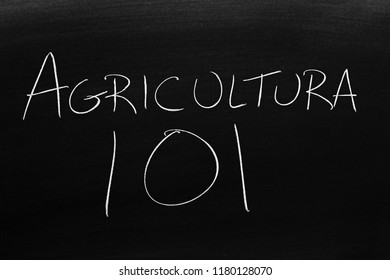 The words Agricultura 101 on a blackboard in chalk.  Translation: Farming 101