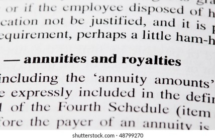 The words annuities and royalties highlighted