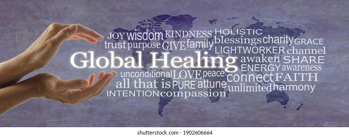 Words associated with global healing banner - female hands cupped around white words GLOBAL HEALING surrounded by  a relevant word cloud on a rustic purple world map background