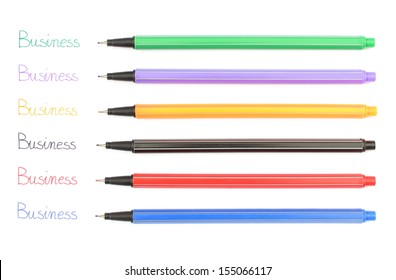 Words business and colorful pens isolated on white background