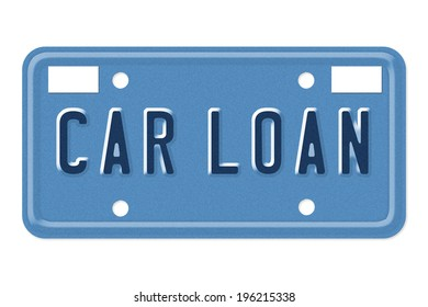 The words Car Loan on a blue license plate isolated on white