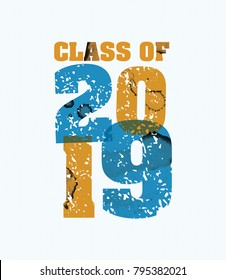 The words Class of 2019 concept printed in letterpress hand stamped colorful grunge paint and ink.