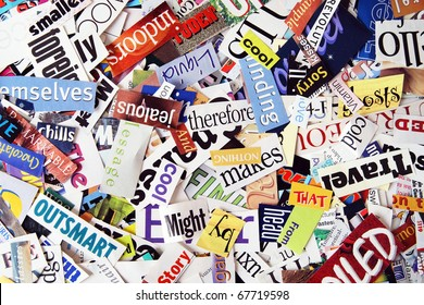 Words clipped from various magazines form a colorful background