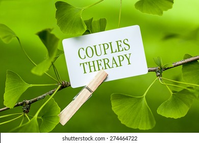 The words Couples Therapy in a Ginkgo Tree