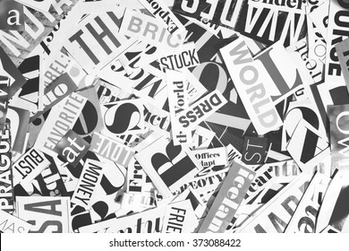 words cut from a magazine, background