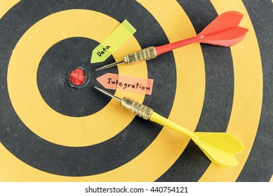 Words data integration with arrow target run in to bullseye over dartboard background