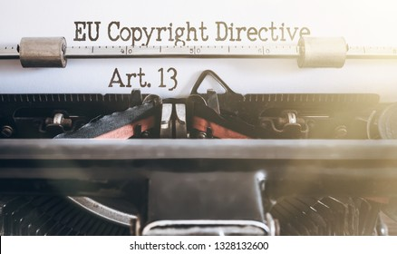 words EU Copyright Directive Article 13 written on vintage typewriter
