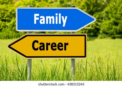 Words  Family - Career. Abstract yellow and blue road arrow highway directions signs on green field background. Sign posts, different directions.