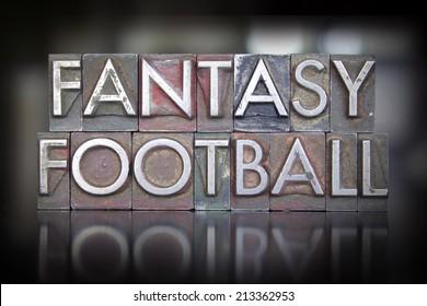 The words Fantasy Football written in vintage letterpress type