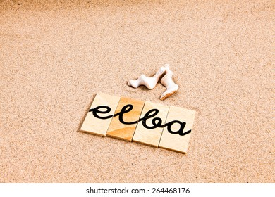 Words formed from small pieces of wood containing different letters in a irregular position, elba
