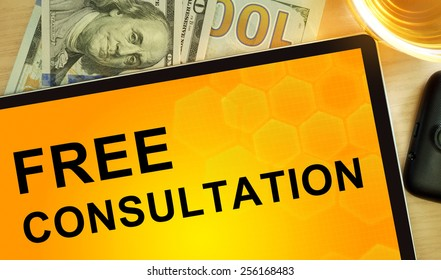 Words free consultation on tablet. Business concept.