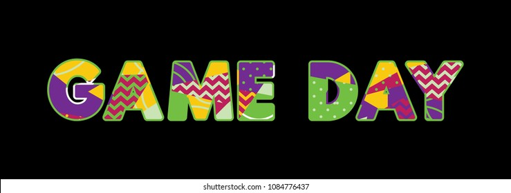 The words GAME DAY concept written in colorful abstract typography.