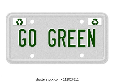 The words Go Green on a gray license plate with recycle symbol isolated on white, Go  Green Car  License Plate