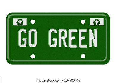 The words go green on a green license plate isolated on white, Go Green