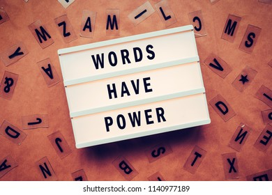 Words have power concept with letters and lightbox