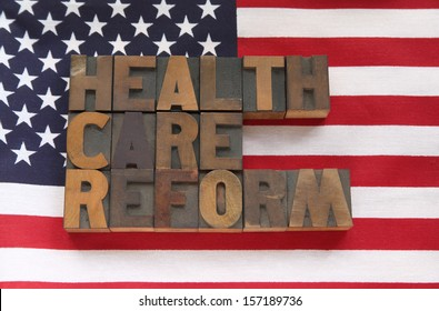 the words health care reform on a USA flag