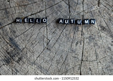 """The words """"hello autumn"""" on a wooden background"""