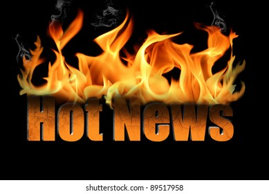 Words Hot News in flame text with billows of smoke curling off the fire.   On a black background, many conceptual ideas for business.