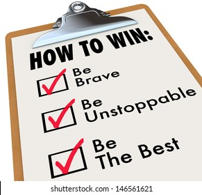 The words How to Win and a checkmark of things to do for achieving success - be brave, unstoppable and the best